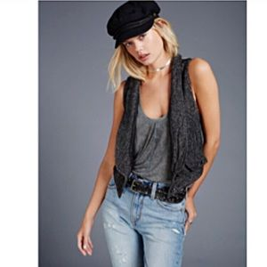 Free People Peppered Grey Wool Blend Vest